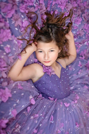 Charlee- Floor long - Beautiful 3D purple floral gown- Gorgeous special occasion or photo shoot dress (6 Year-Petite 12 Year)