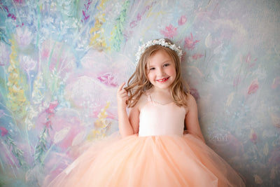 Laurel Tulle gown- Peaches (5 Year - Petite 10 Year)