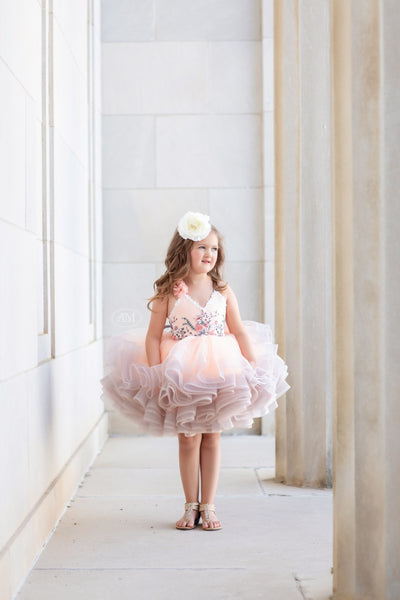 "Petal ""Peaches""- Short Length Dress (2 Year-Petite 5 Year)"