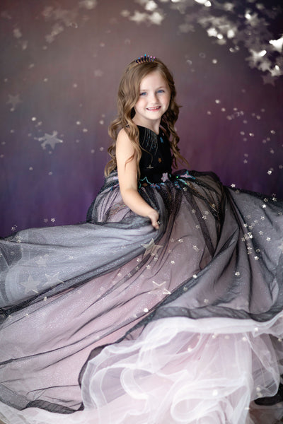 ALL THAT SHIMMERS- MODIFIED DILLON GOWN -PINK+BLACK-GORGEOUS SPECIAL OCCASION OR PHOTO SHOOT DRESS (8 YEAR-PETITE 13 YEAR)
