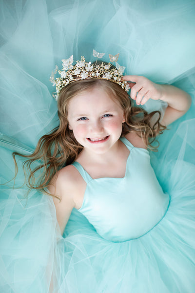 Laurel Tulle gown - Seashell Aqua Blue (5 Year - Petite 8 Year)