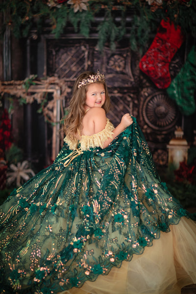 Ginny  - gorgeous green sequin gown- ( 5 Year-Petite 8 Year )