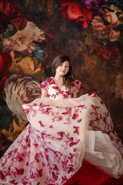 """Butterfly Song""- Floor long Length Dress ( 6 Year - Petite 12 Year) - ."