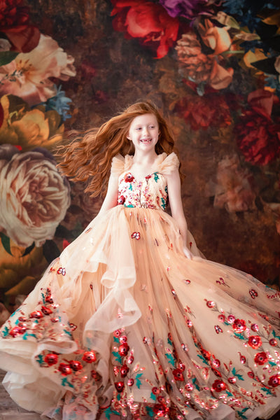 """Sweet Serenade""- Floor long Length Dress ( 5 Year - Petite 8 Year)"