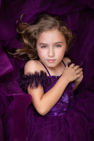 Sweet Violet-FLOOR LONG LENGTH - gorgeous special occasion or photo shoot dress 8 year-petite 13 year