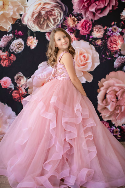 Princess Dreams Gown Cascades -Gold/Pink shades (6 Year-Petite 10 Year)