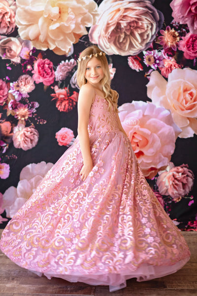 Princess Dreams Gown -Gold/Pink shades (6 Year-Petite 12 Year)