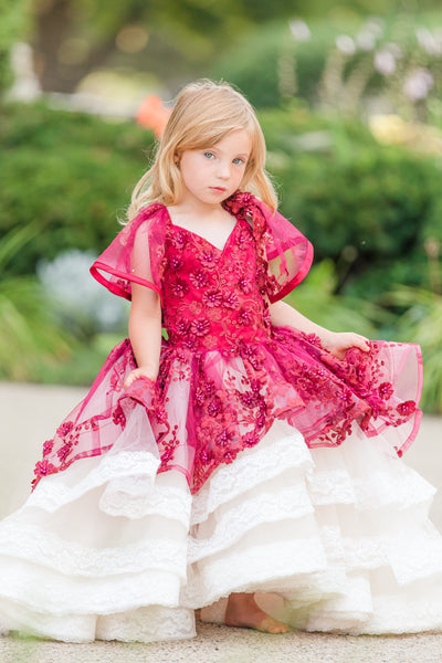Dawson-High Low in Wine & Champagne-Special Occasion gown (4 YEAR-PETITE 8 YEAR)