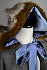 """Blair"" Velvet and Faux Fur Cloak"
