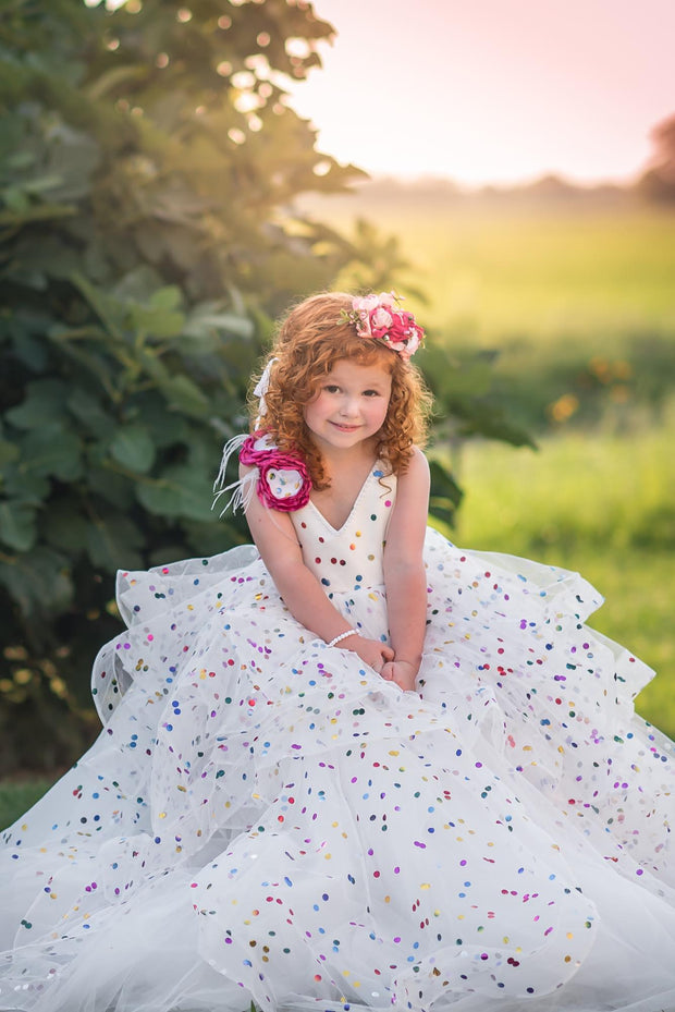 """Confetti"" - Tie Strap with Elastic Back- Flower Girl Dress,  Special Occasion Dress"