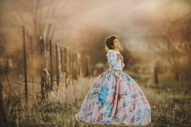 """Fille"" Flower Girl Skirt+Top,  Special Occasion Silk Skirt+Top"