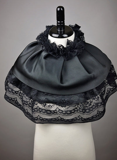 Lucy black satin lace collar