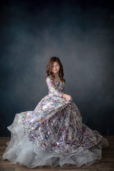 Keaton floor long length gown + tulle collar (6 year- petite 11 year)