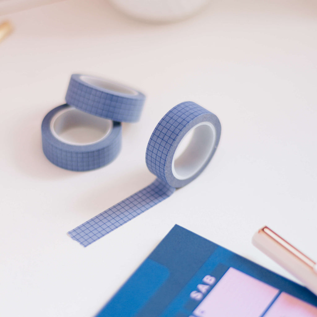 Washi tape Grid Blueberry