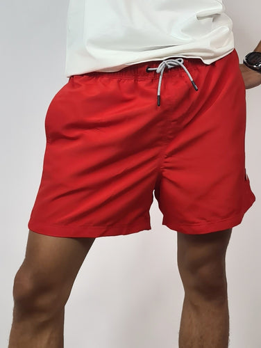 J&J Short de bain uni, coloris rouge