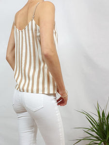 Top ONLY rayé beige blanc
