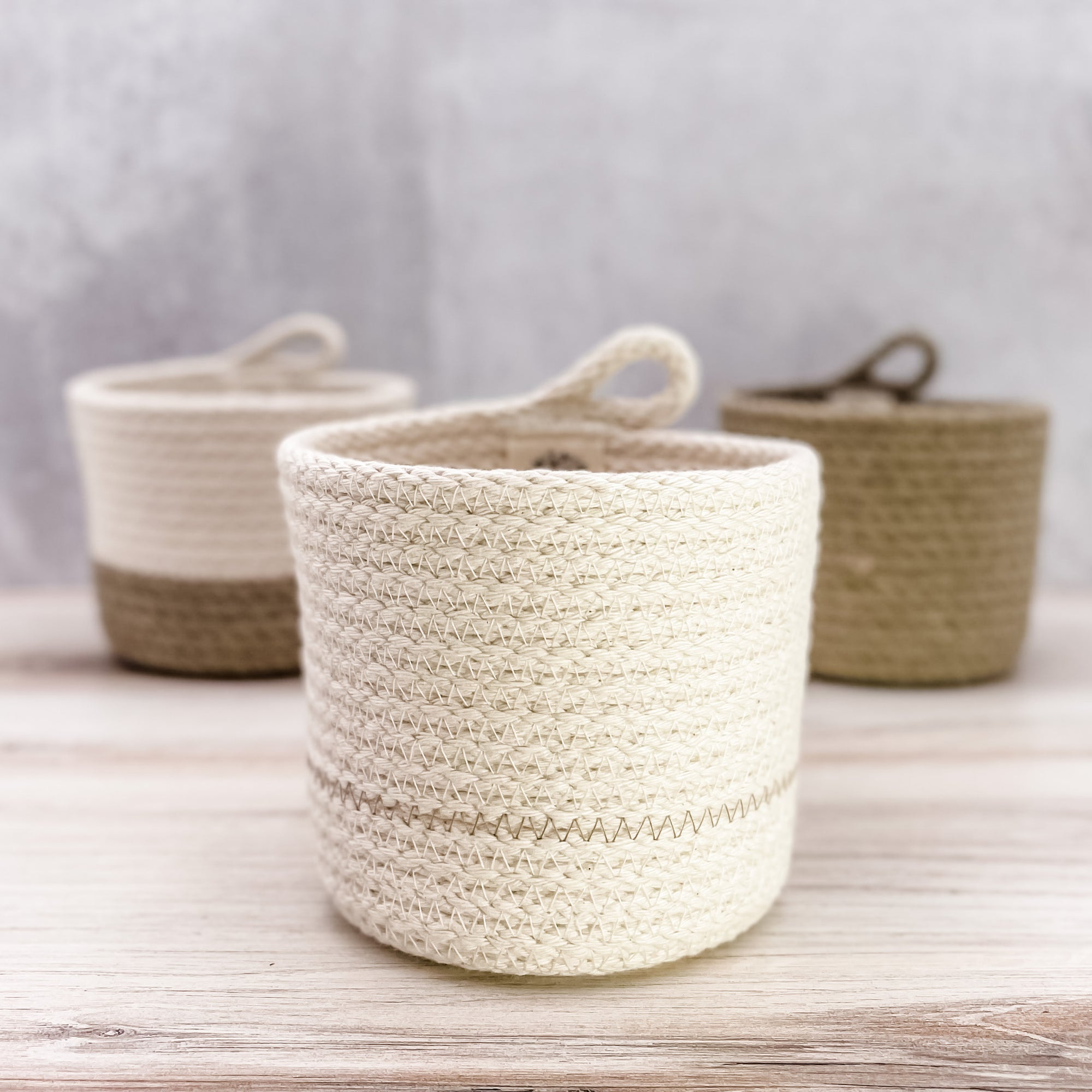 Small Stripe Cylinder Basket