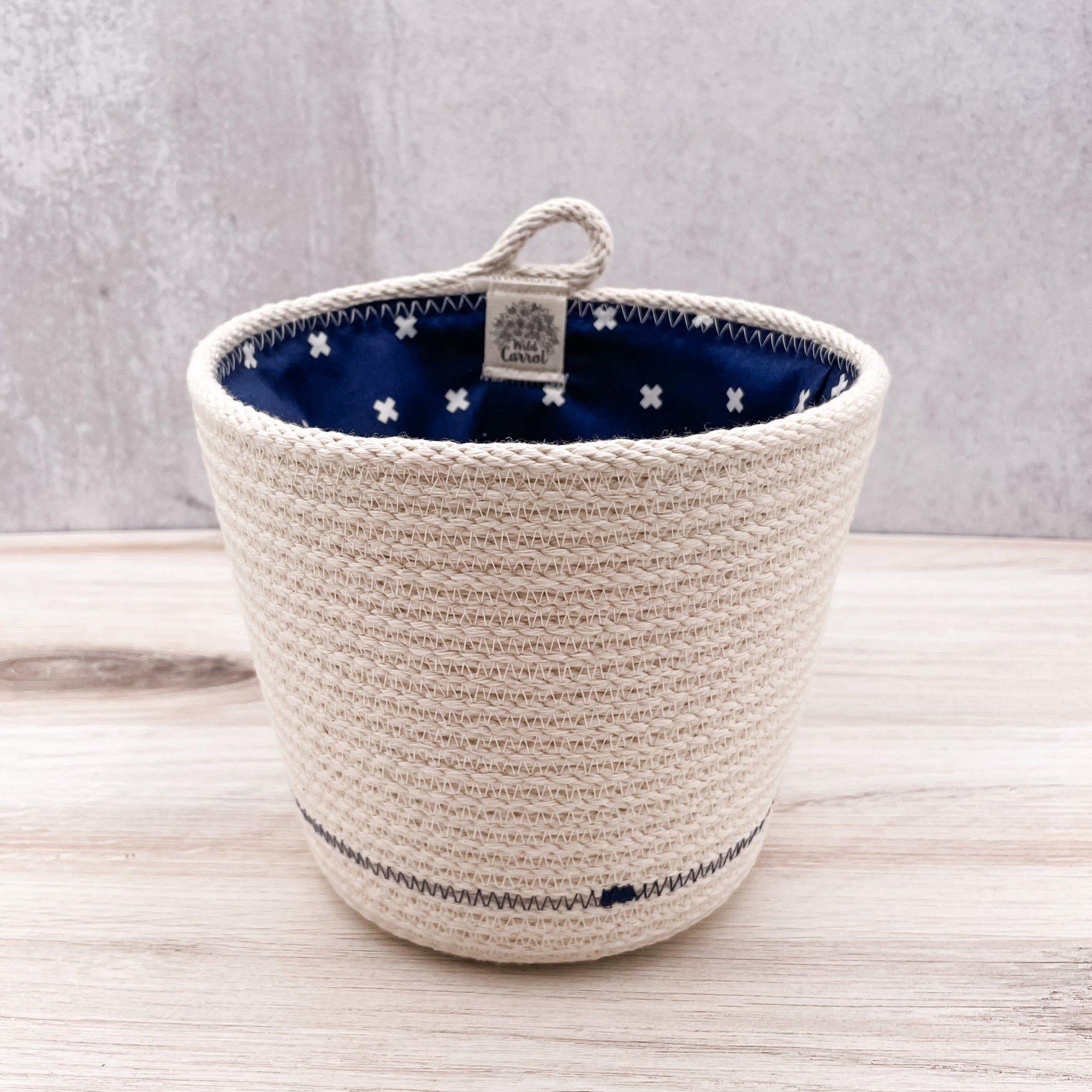 Lined tall basket
