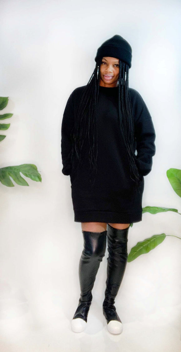 Sweatshirt Dress (BLK)
