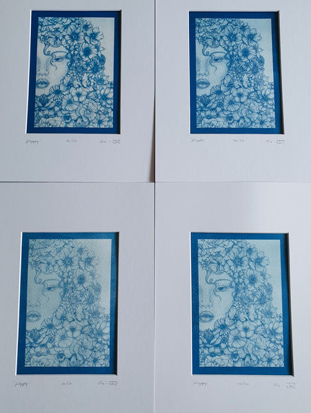 P O P P Y - Unique Cyanotype Print - Collab (incl frame)