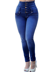 Women's Slim Slim Pants - Solid Colored High Waist Cotton Blue Navy Blue Light Blue S M L
