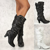 Women's Boots Stiletto Heel Round Toe PU Mid-Calf Boots Fall & Winter Black / White