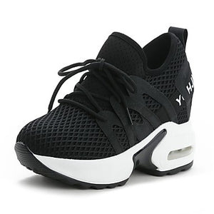 Women's Athletic Shoes Platform Round Toe Mesh Sporty / Sweet Walking Shoes Fall & Winter Black / White
