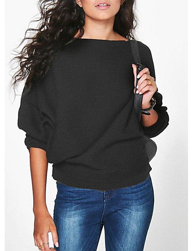 Women's Daily Solid Colored Long Sleeve Regular Pullover Sweater Jumper Black / Wine / White S / M / L