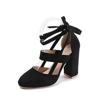Women's Heels Chunky Heel Round Toe Suede Summer Black / Yellow / Pink