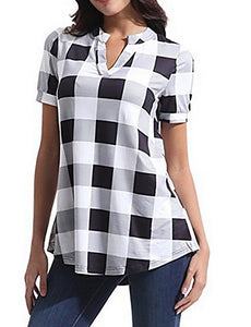 Women's Daily T-shirt - Plaid White