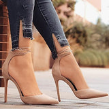 Women's Heels Stiletto Heel Pointed Toe Buckle Nubuck leather Comfort / Novelty Spring / Fall Green / Blue / Almond / 3-4 / Party & Evening