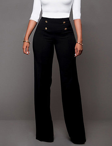 Women's Daily Going out Bootcut / Wide Leg Pants - Solid Colored Formal Style Black Wine White S M L