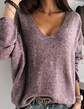Women's Solid Colored Long Sleeve Pullover Sweater Jumper, Round Purple / Yellow / Red S / M / L
