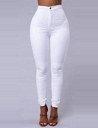 Women's Basic Daily Going out Slim Pants - Solid Colored Winter White Black Wine L XL XXL