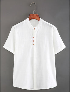 Men's Daily Weekend Chinoiserie Linen Slim Shirt - Solid Colored Basic Standing Collar White / Short Sleeve / Summer