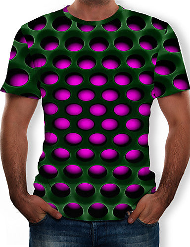 Men's Casual / Daily Plus Size Street chic / Exaggerated T-shirt - Color Block / 3D Print Round Neck Purple / Short Sleeve