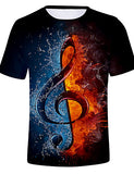 Men's Daily T-shirt - Color Block / 3D Round Neck Black / Short Sleeve
