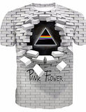 Men's Daily T-shirt - Geometric / 3D / Letter Print Round Neck White / Short Sleeve