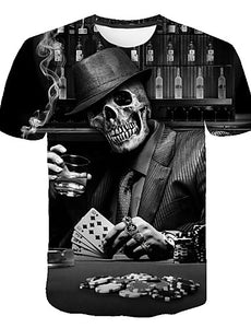 Men's Daily Street Exaggerated Plus Size T-shirt - 3D / Skull Print Round Neck Black / Short Sleeve