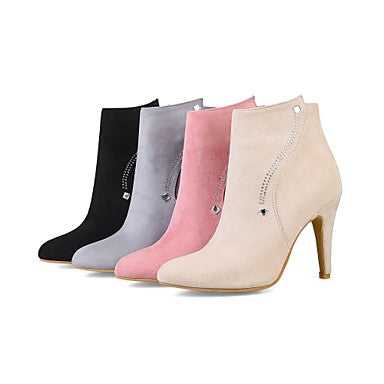 Women's Boots Stiletto Heel Pointed Toe Zipper Nubuck leather Booties / Ankle Boots Comfort / Fashion Boots Spring / Fall Gray / Pink / Almond / Wedding / Party & Evening