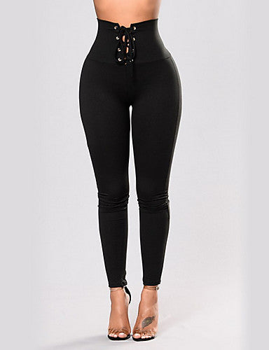 Women's Basic Legging - Solid Colored, Criss Cross Mid Waist Black S M L / Slim