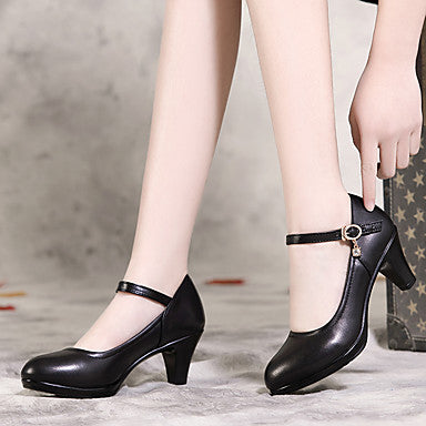 Women's Heels Chunky Heel Pointed Toe PU Walking Shoes Spring & Fall Black