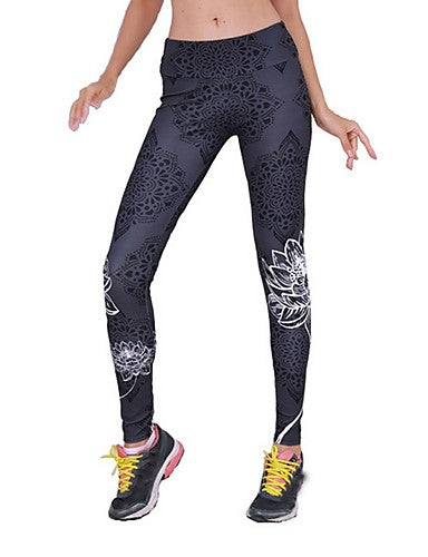Women's Basic Legging - Floral, Print Mid Waist Black M L XL / Slim
