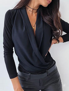 Women's Daily Basic Blouse - Solid Colored Black