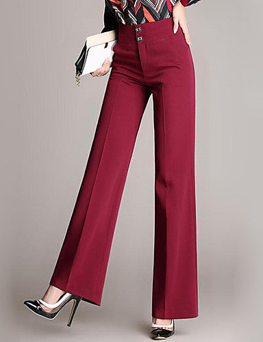 Women's Street chic Plus Size Work Loose Business Pants - Solid Colored / Lace Cotton Navy Blue Wine XXL XXXL XXXXL