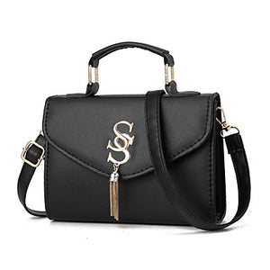 Women's PU(Polyurethane) / PU Top Handle Bag Solid Color Black / Wine / Blushing Pink / Fall & Winter