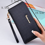Women's Zipper PU Wallet Geometric Black