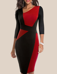 Women's Sophisticated Elegant Bodycon Sheath Dress - Color Block Patchwork Deep V Cotton