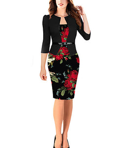 2019 New Arrival Dresses Women's Elegant Bodycon Dress Elbise Vestidos Robe Femme - Floral Black