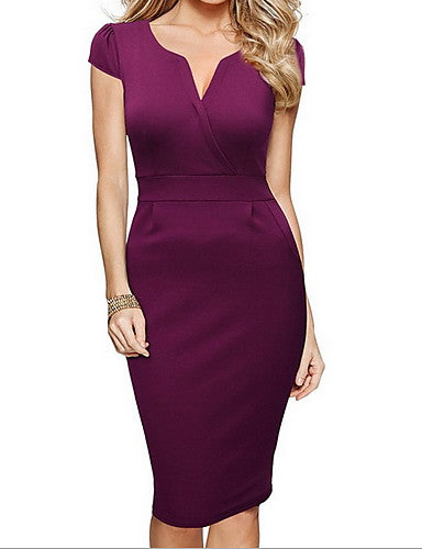 Women's Work Basic Slim Sheath Dress - Solid Colored V Neck Summer